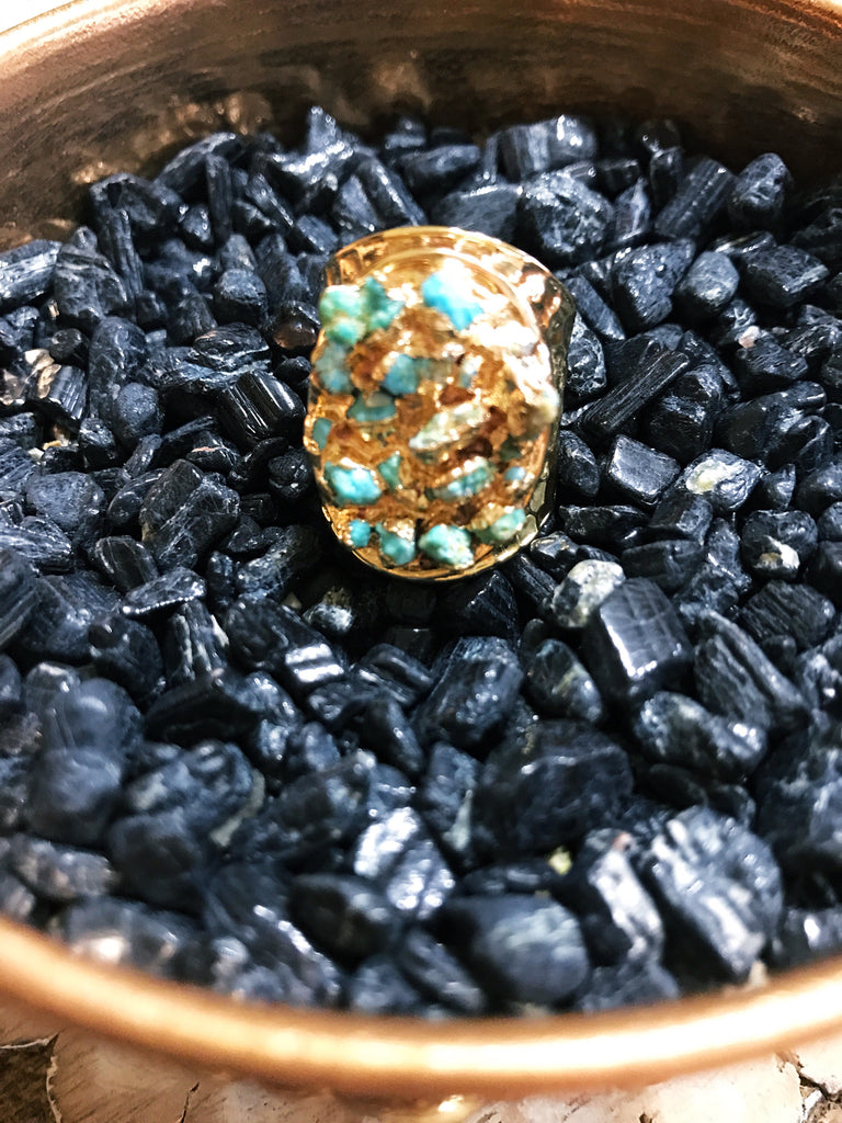 << ROUGH TURQUOISE CHIPS >> RING