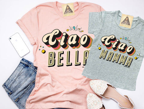 « CIAO BELLA + CIAO MAMMA » MOMMY & ME // Peach Unisex Tee + Heather Gray Tee