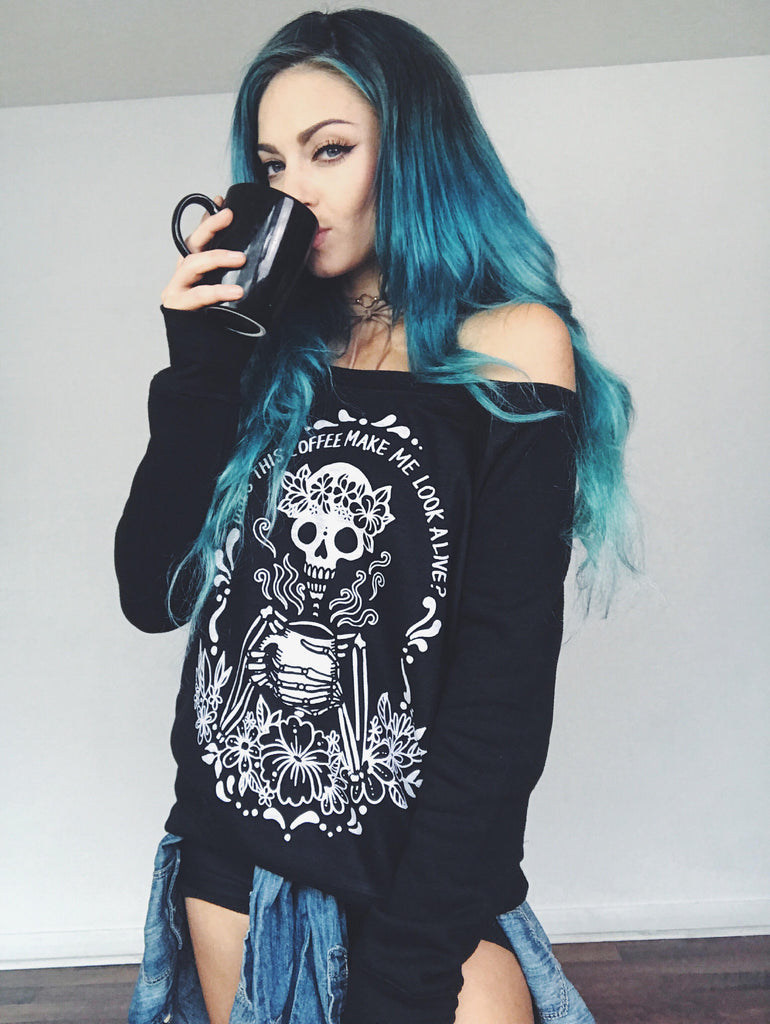 « COFFEE SKELETON » WOMEN'S SLOUCHY WIDENECK SWEATSHIRT