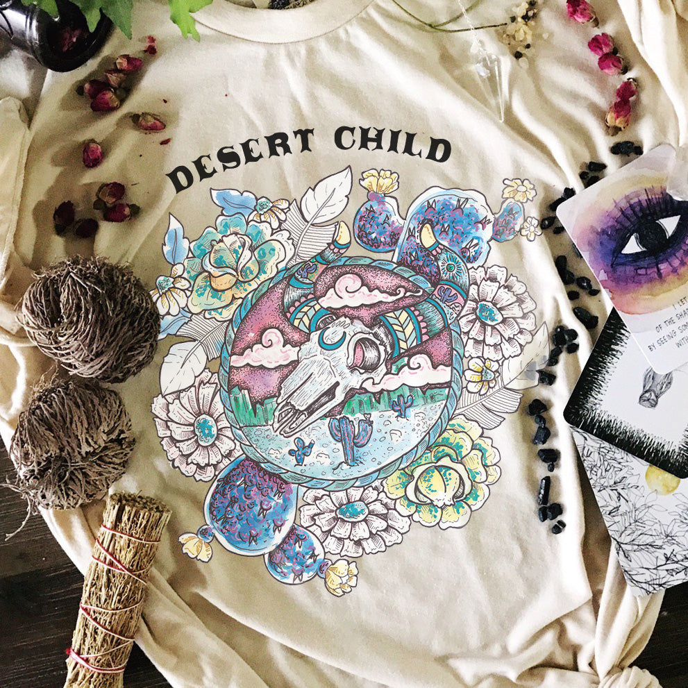 « DESERT CHILD » CREAM UNISEX TEE
