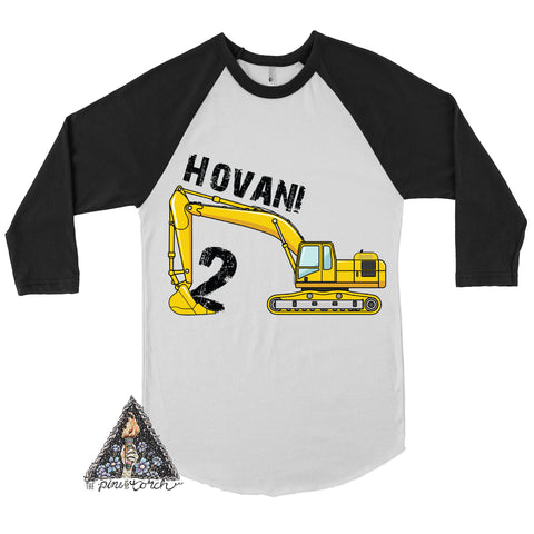 « CONSTRUCTION/EXCAVATOR BIRTHDAY SHIRT » CUSTOMIZED RAGLAN TEE