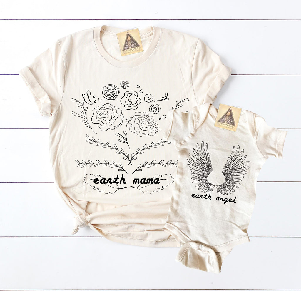 « EARTH MAMA + EARTH ANGEL » MOMMY & ME // Cream Unisex Tee + Bodysuit