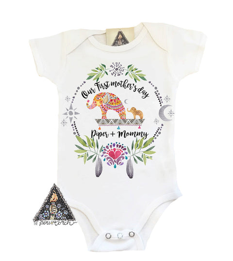 « FIRST MOTHER'S DAY WITH ELEPHANTS » CUSTOMIZED BODYSUIT
