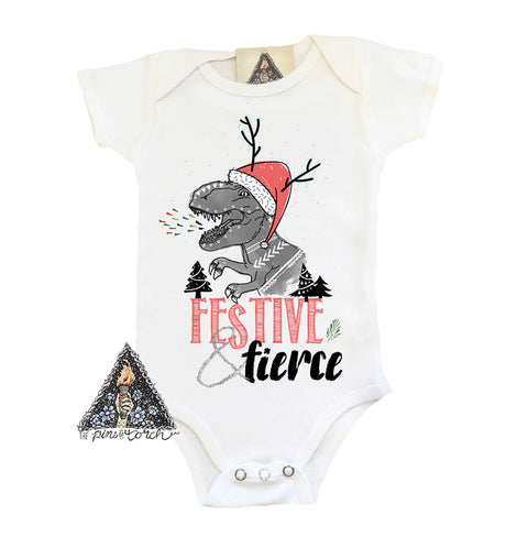 « FESTIVE AND FIERCE DINOSAUR » BODYSUIT