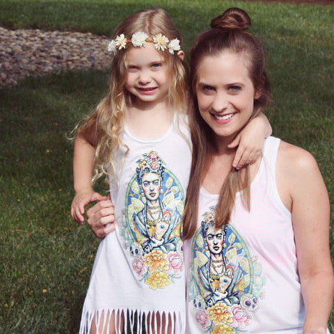 « FRIDA KAHLO » MOMMY & ME // Women's Tank + Kid's Fringe Dress