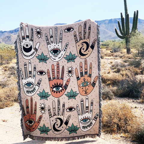 HELPING HANDS (HAMSA) // WOVEN FRINGE BLANKET
