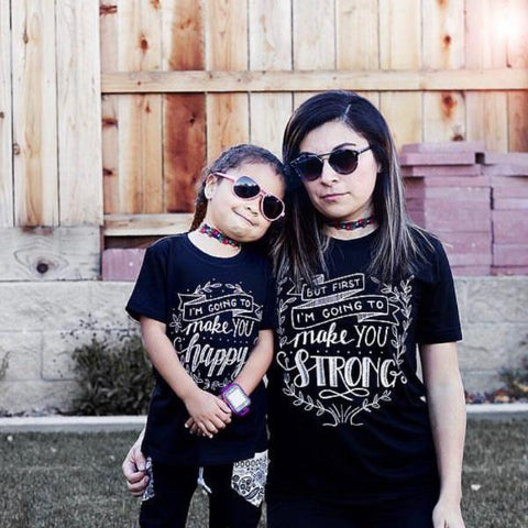 « HAPPY & STRONG » MOMMY & ME // Black Unisex Tee + Kids Tee