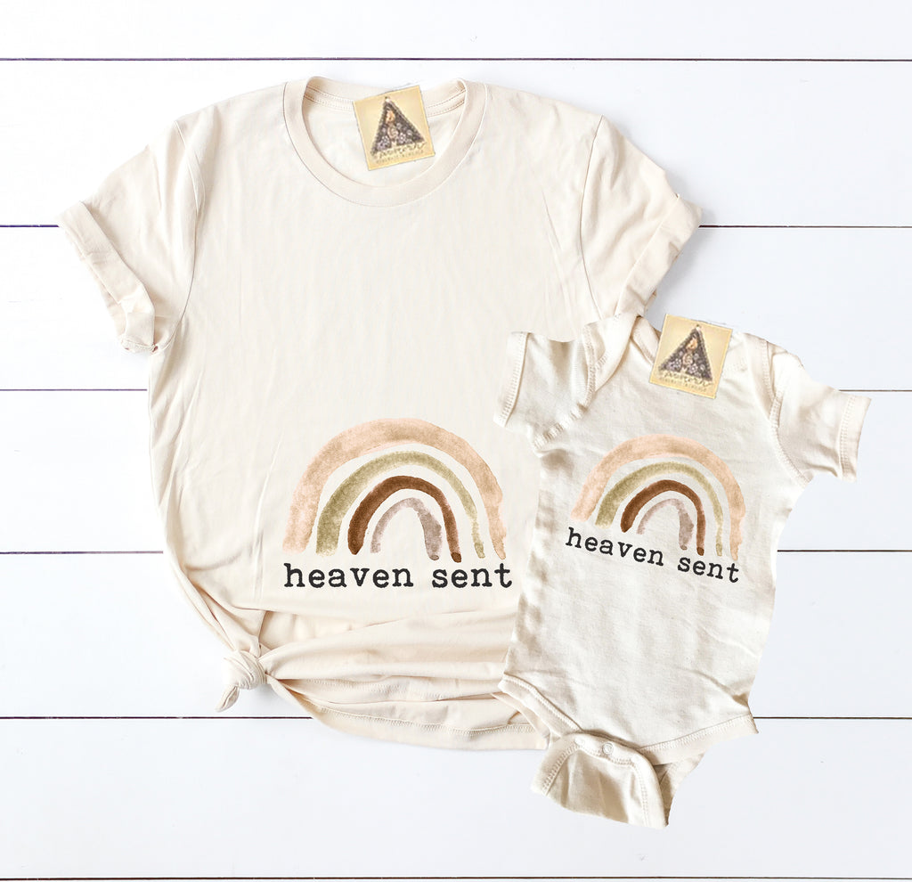 « HEAVEN SENT » MOMMY & ME // Cream Unisex Tee + Bodysuit