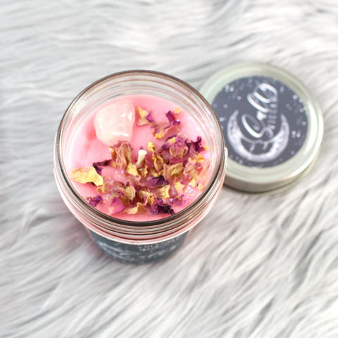 << I AM A UNICORN >> CRYSTAL CHARGED + FLORAL TOPPED CANDLE