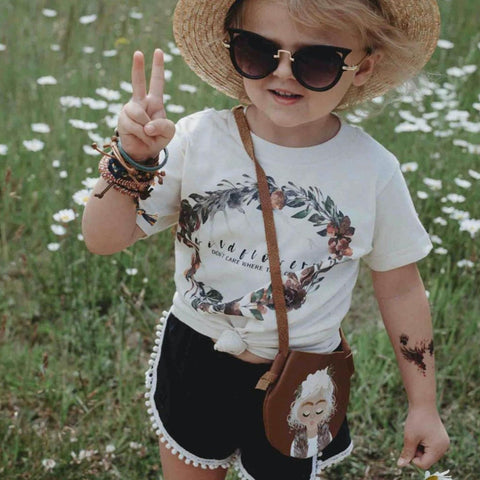 « WILDFLOWERS DON'T CARE WHERE THEY GROW » CREAM ORGANIC KIDS TEE