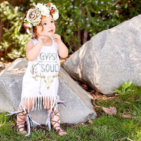« GYPSY SOUL » KID'S FRINGE DRESS