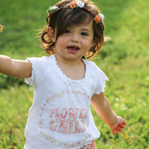 « FLOWER CHILD » KID'S RUFFLE TEE