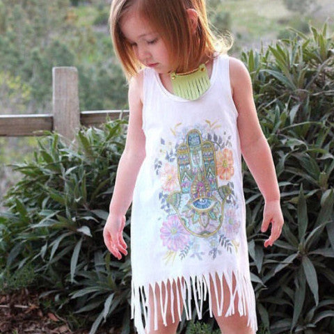 « BOHO HAMSAH » KID'S FRINGE DRESS