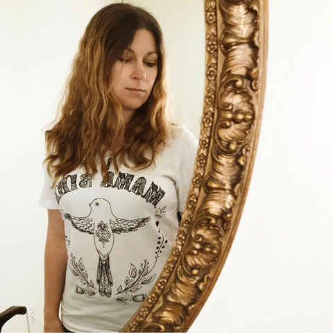 « MAMA BIRD » (WHITE) WOMEN'S SLOUCHY OR UNISEX TEE