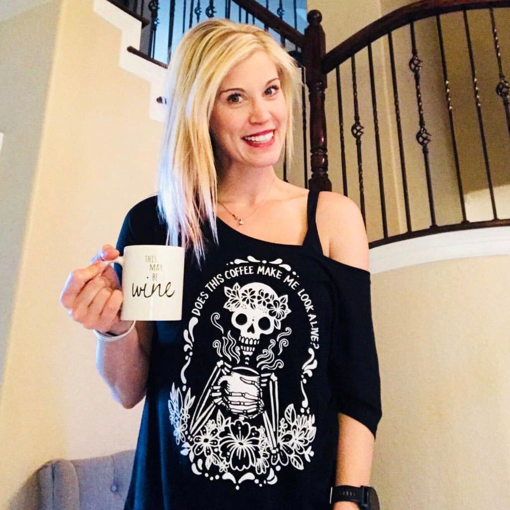 « COFFEE SKELETON » WOMEN'S SLOUCHY OR UNISEX TEE