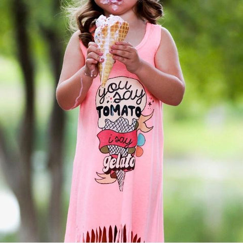 « TOMATO, GELATO » KIDS FRINGE DRESS