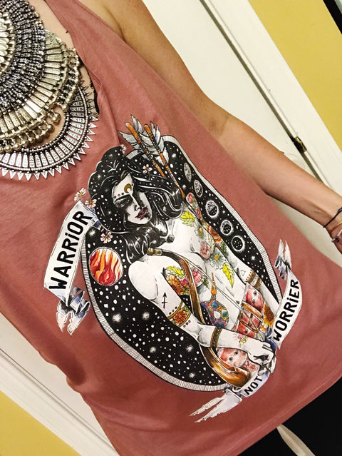 « WARRIOR NOT WORRIER » WOMEN'S SLOUCHY TANK