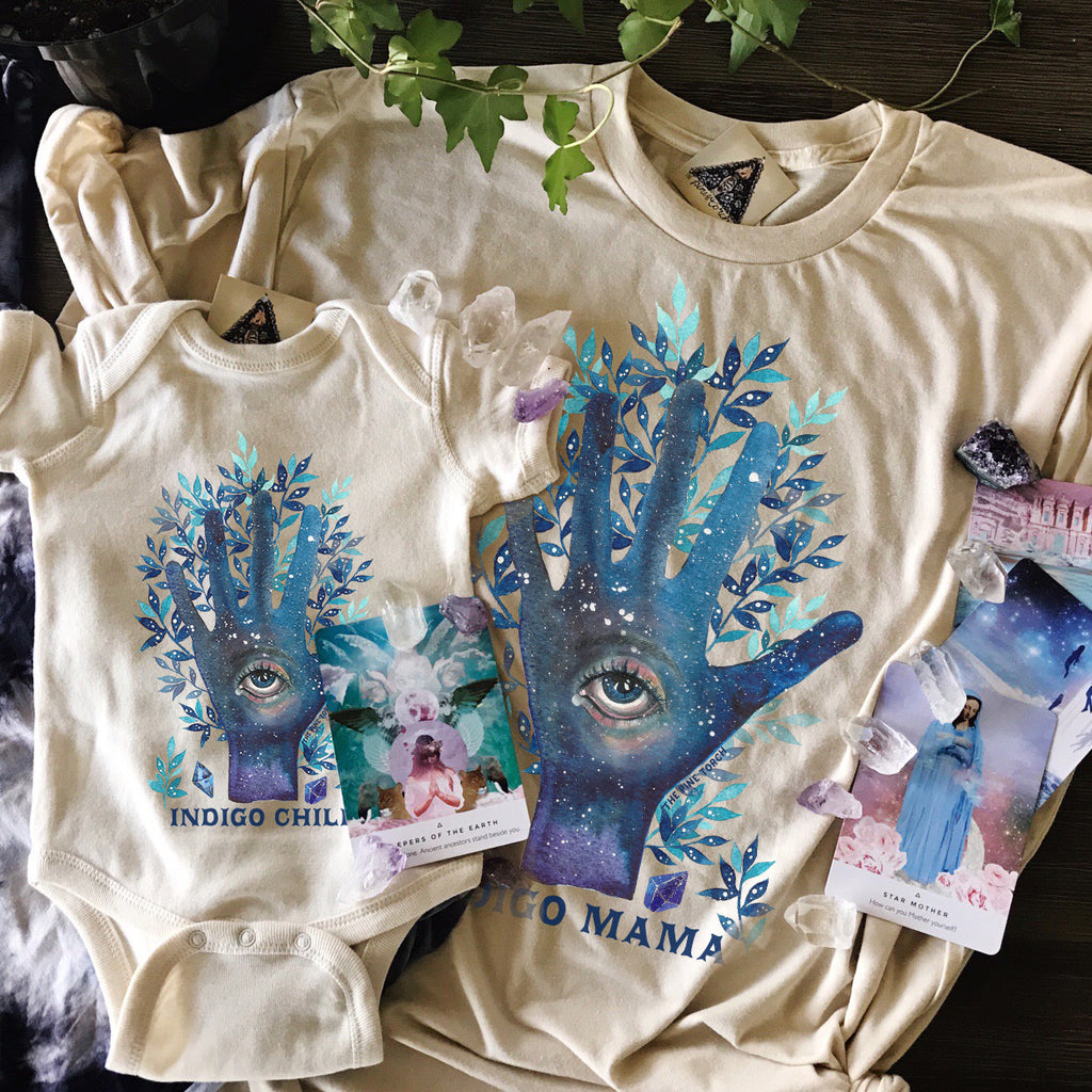 « INDIGO MAMA + INDIGO CHILD » MOMMY & ME // Cream Unisex Tee + Bodysuit or Tee