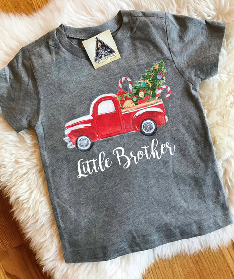 « LITTLE BROTHER CHRISTMAS TRUCK » KID'S TEE