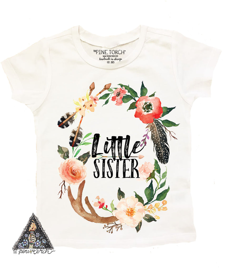 « LITTLE SISTER BOHO ANTLERS » KID'S TEE