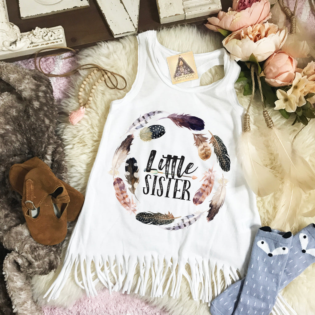 « LITTLE SISTER BOHO FEATHERS » KID'S FRINGE DRESS
