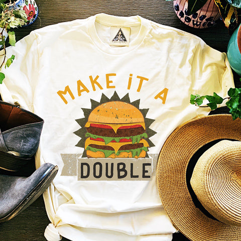 « MAKE IT A DOUBLE » CREAM UNISEX TEE