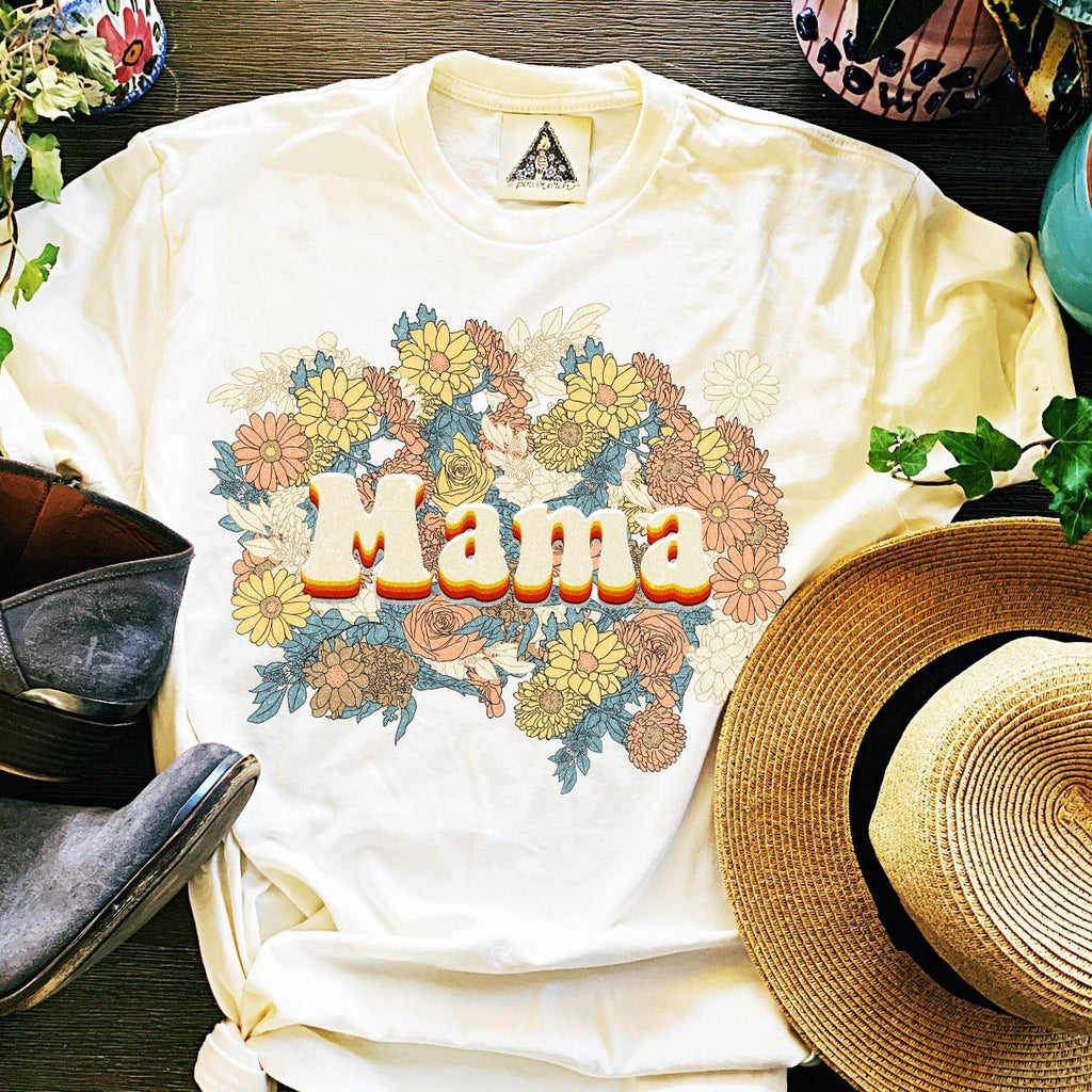 « MAMA RETRO FLORAL » UNISEX WHITE OR CREAM TEE