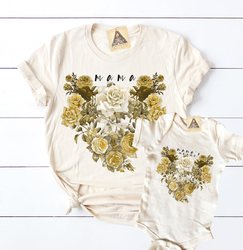 « MAMA + MAMA's HEART » MOMMY & ME // Cream Unisex Tee + Bodysuit