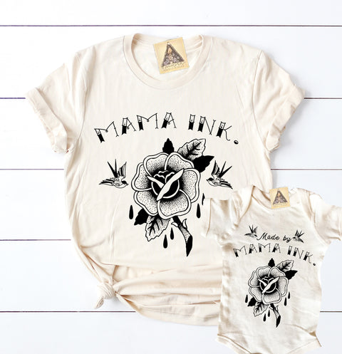 « MAMA INK. + MADE BY MAMA INK. » MOMMY & ME // Unisex Cream Tee + Kids Bodysuit or Tee