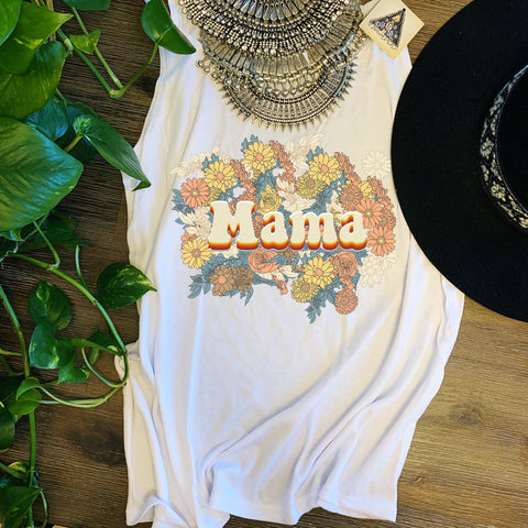 « MAMA RETRO FLORAL » SLOUCHY OR FLOWY RACERBACK TANK