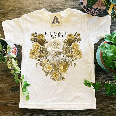« MAMA'S HEART » CREAM ORGANIC KIDS TEE