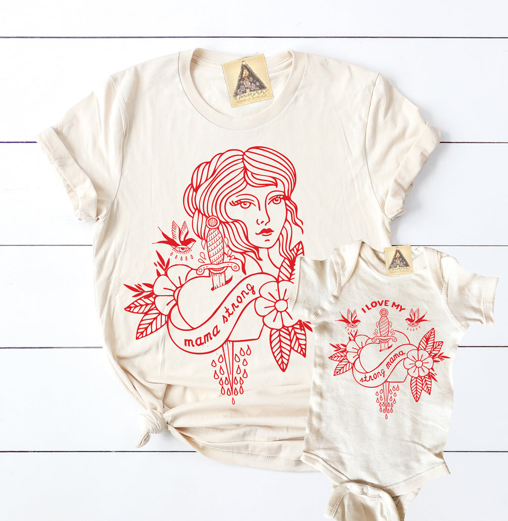 « MAMA STRONG + I LOVE MY STRONG MAMA » MOMMY & ME // Cream Unisex Tee + Bodysuit or Tee