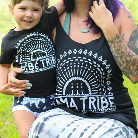« MAMA TRIBE + BEBE TRIBE » MOMMY & ME // Black Slouchy Tank + Kids Tee
