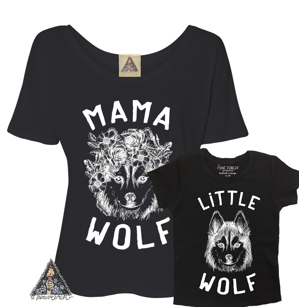 « MAMA WOLF + LITTLE WOLF » MOMMY & ME SET // Slouchy Tee + Bodysuit or Tee
