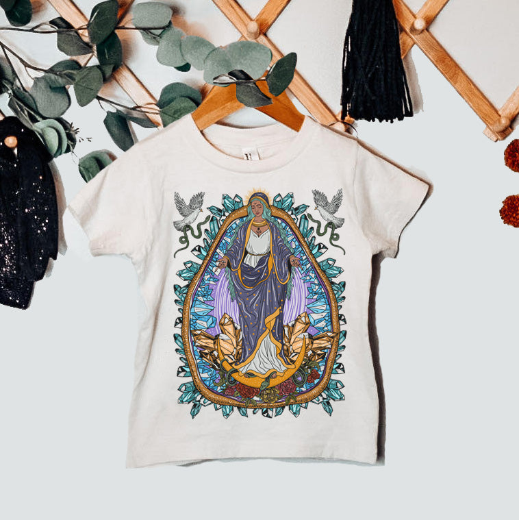 « VIRGIN MARY / GUADALUPE WITH CRYSTALS »  BODYSUIT