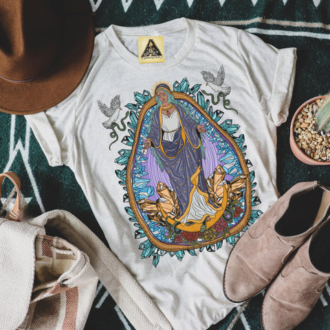 « VIRGIN MARY / GUADALUPE WITH CRYSTALS » UNISEX TEE