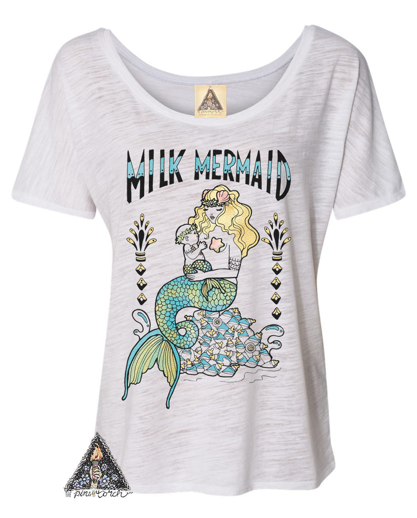« MILK MERMAID » WOMEN'S SLOUCHY OR UNISEX TEE (BLACK)