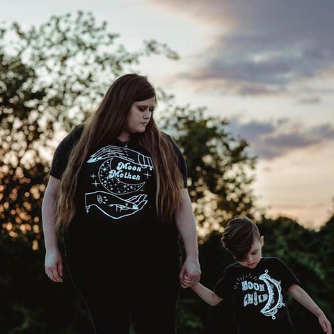 « MOON MOTHER + MOON CHILD » MOMMY & ME // Unisex Black Tee + Kids Tee