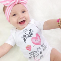 « FIRST MOTHER'S DAY WITH HEARTS » CUSTOMIZED BODYSUIT