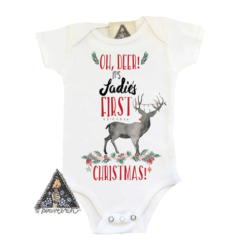 « OH DEER, FIRST CHRISTMAS » CUSTOMIZED BODYSUIT