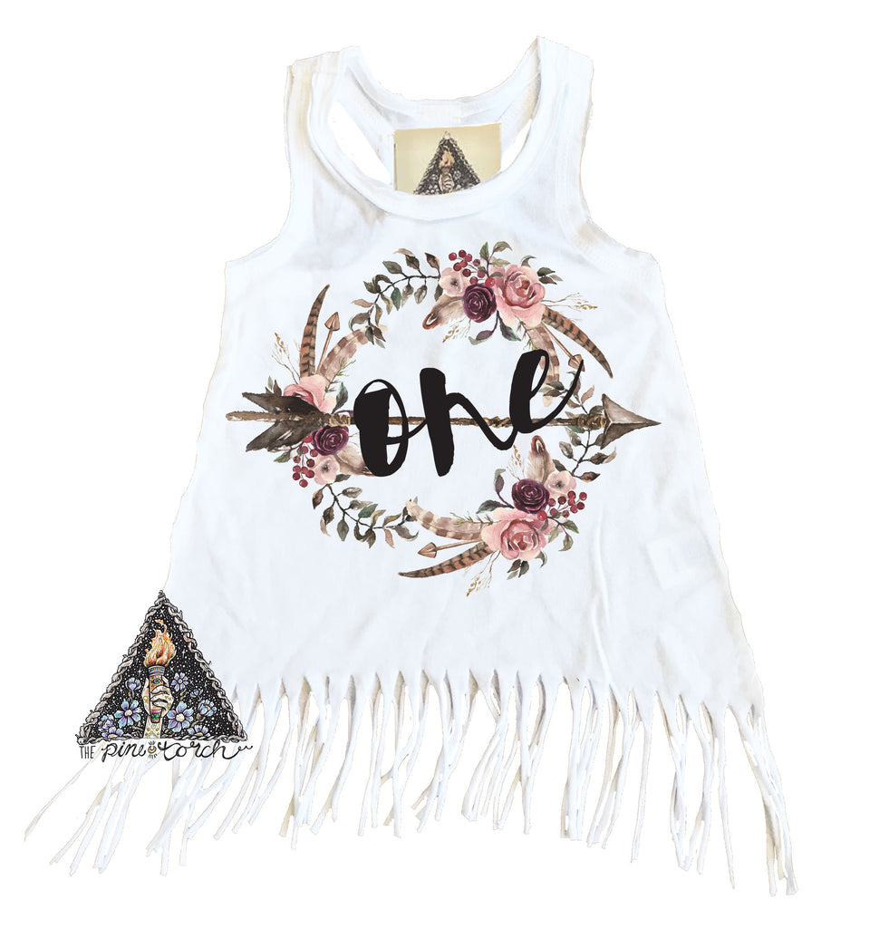« BOHO FLORAL FIRST BIRTHDAY » KID'S FRINGE DRESS