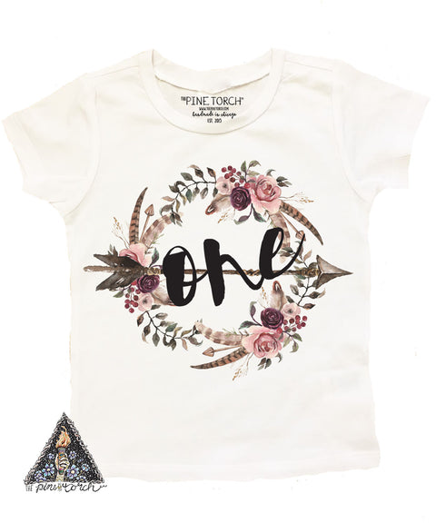 « BOHO FLORAL FIRST BIRTHDAY » KID'S TEE