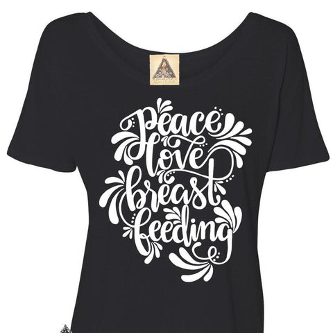 « PEACE, LOVE, BREASTFEEDING » WOMEN'S SLOUCHY OR UNISEX TEE