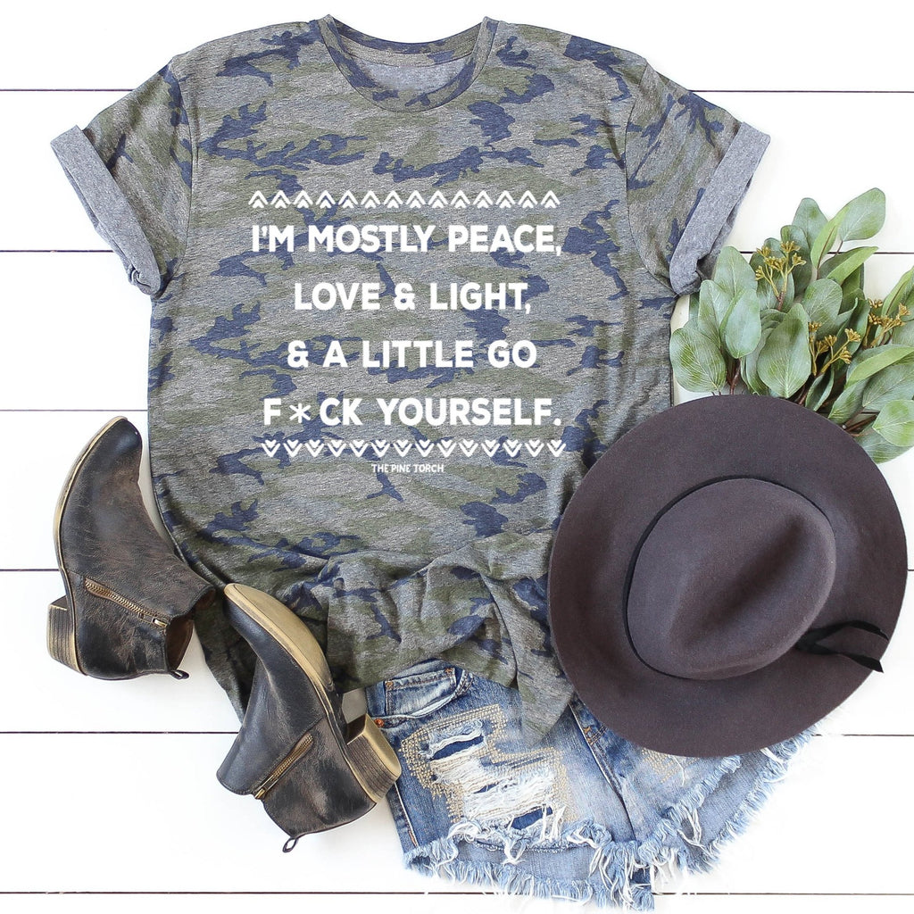 HOLIDAY SALE « PEACE, LOVE, LIGHT & A LITTLE GO F YOURSELF » VINTAGE CAMO UNISEX TEE