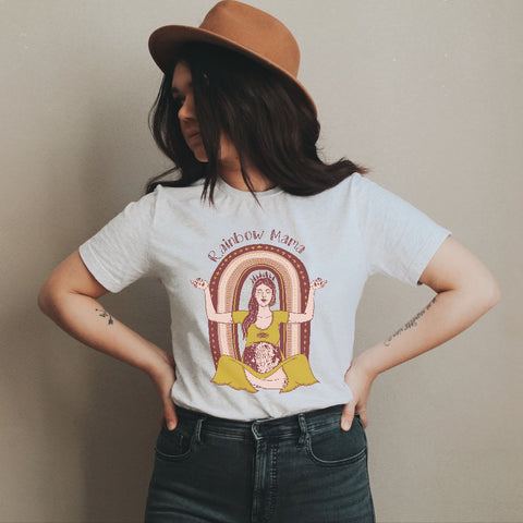 « RAINBOW MAMA GODDESS » UNISEX CREAM TEE