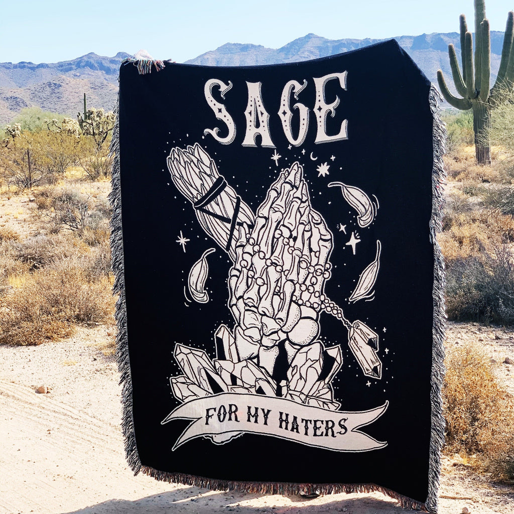 SAGE FOR MY HATERS // WOVEN FRINGE BLANKET