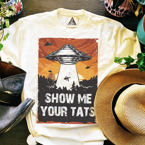 « SHOW ME YOUR TATS » CREAM UNISEX TEE