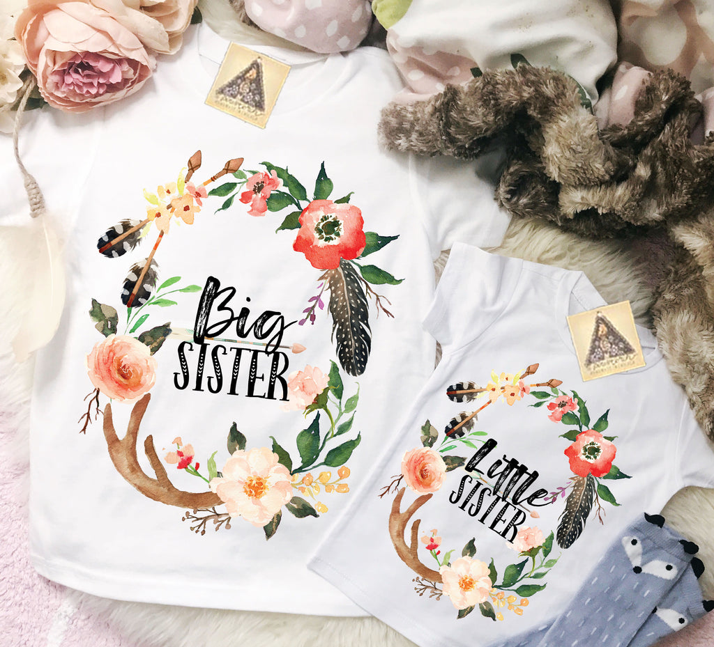 « BIG SISTER + LITTLE SISTER BOHO ANTLER » KID'S TEE SIBLING SET