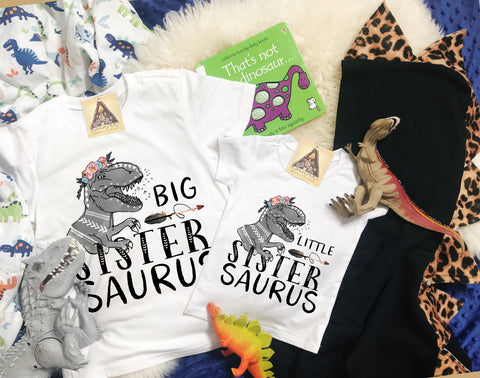 « BIG SISTER SAURUS + LITTLE SISTER SAURUS » KID'S TEE SIBLING SET