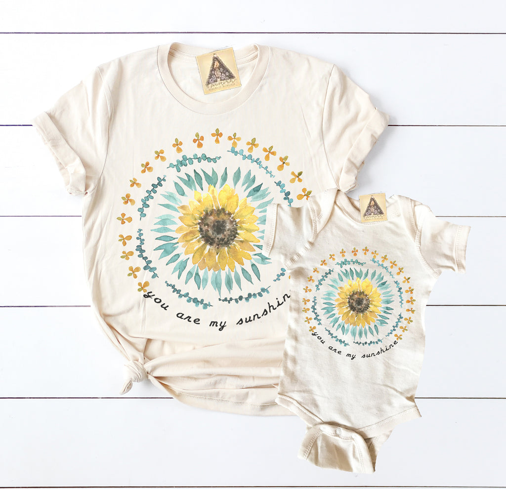 « YOU ARE MY SUNSHINE » MOMMY & ME // Cream Unisex Tee + Bodysuit
